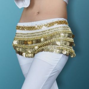 A Festival Gold Jingle Belly Dancer Skirt ONE SIZE